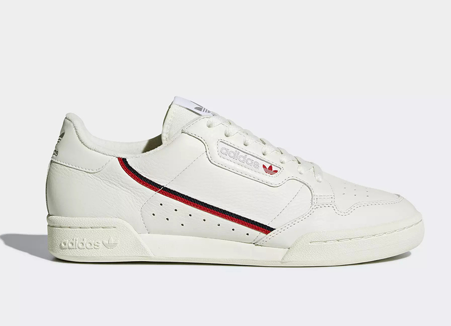 Adidas Continental 80 Shoes - Beige / Off White / Scarlet