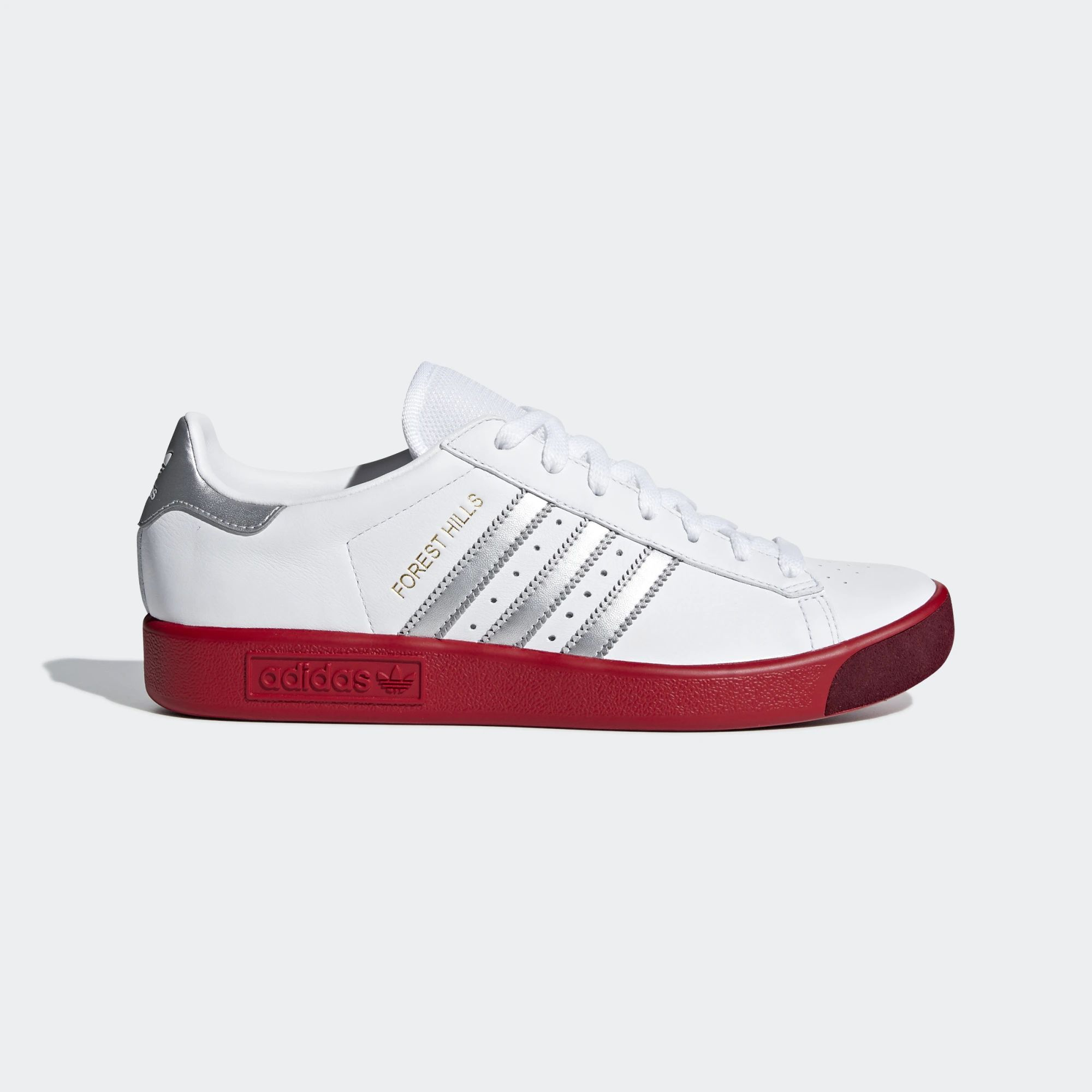 Adidas Forest Hills Shoes - Ftwr White / Silver Met / Scarlet