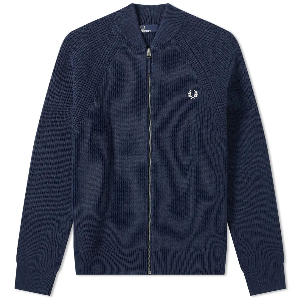 Fred Perry Bomber Neck Zip Cardigan - Deep Carbon