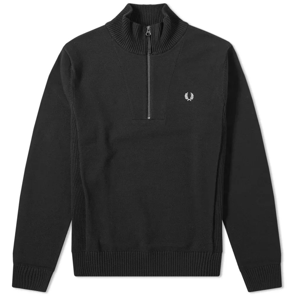 Fred Perry Rib Insert Half Zip Knit - Black