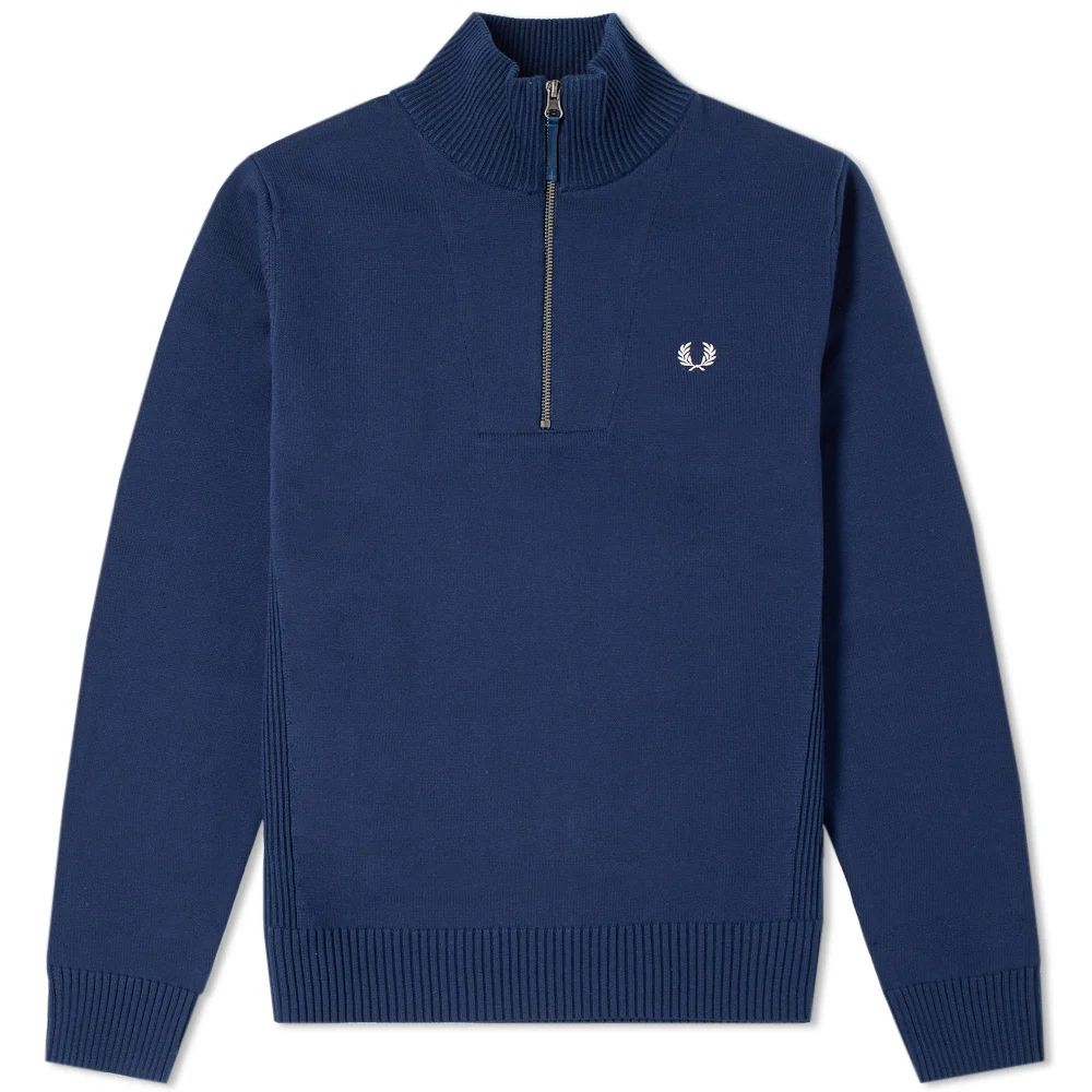 Fred Perry Rib Insert Half Zip Knit - Dark Night