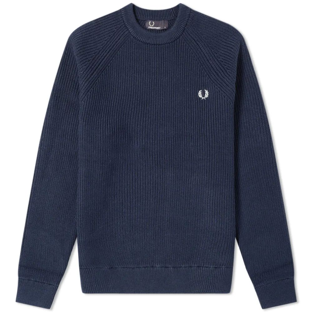 Fred Perry Ribbed Crew Knit - Deep Carbon