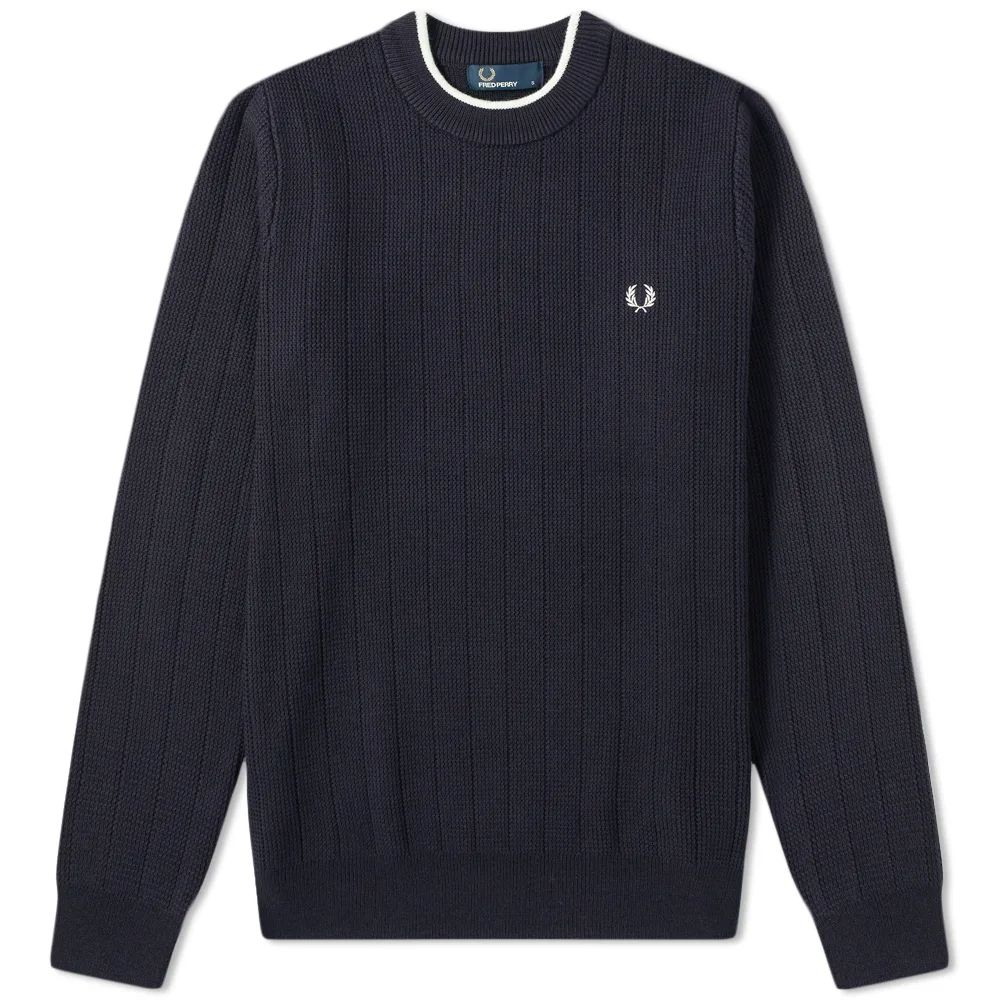 Fred Perry Textured Rib Crew Knit - Navy